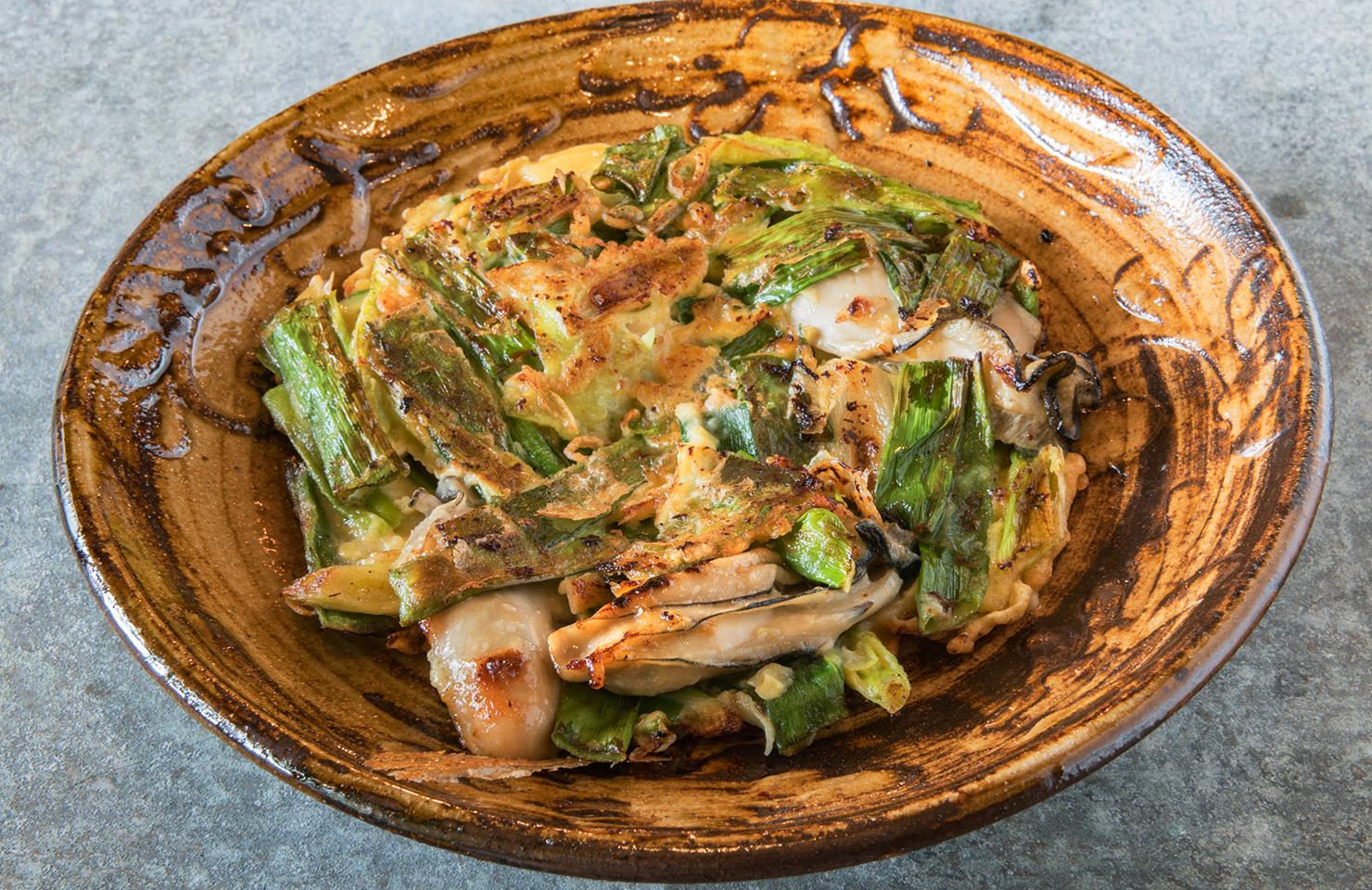 牡蠣と九条ねぎのチヂミ
